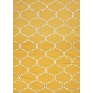 Handmade Geometric Flat Weave Yellow Wool Rug (9' x 12')