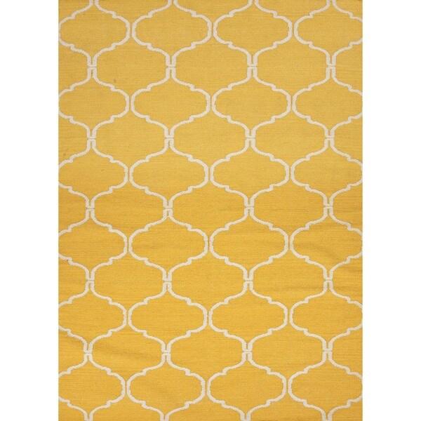 Handmade Geometric Flat Weave Yellow Wool Rug (9' x 12')