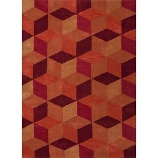 Hand-tufted 'Traverse' Modern Geometric Wool Rug (5' x 8')