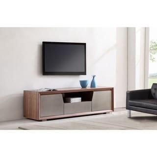 Element Light Walnut/ Stainless Steel TV Stand