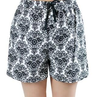 Leisureland Women's White/ Black Damask Flannel Boxer Shorts