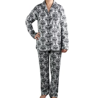 Leisureland Women's White/ Black Damask Brushed Cotton Pajama Set
