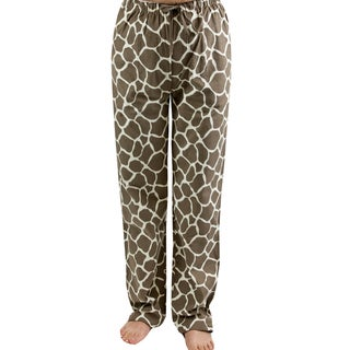 Leisureland Women's Giraffe Print Flannel Lounge Pants