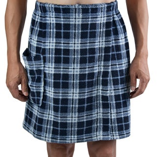 Leisureland Men's Navy Plaid Fleece Spa Wrap