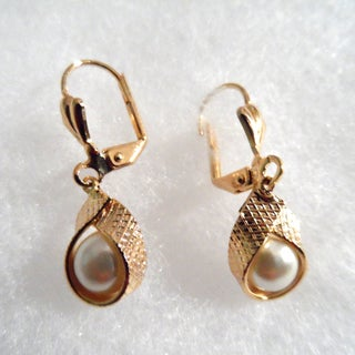 18k Gold With Wrap Faux Pearl Earrings