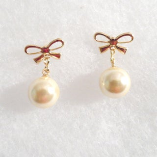 18k Gold Bow with Faux Pearl Stud Earrings