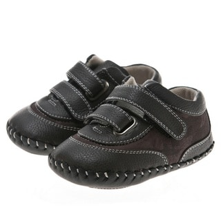 Little Blue Lamb Black Leather Infant Walking Shoes
