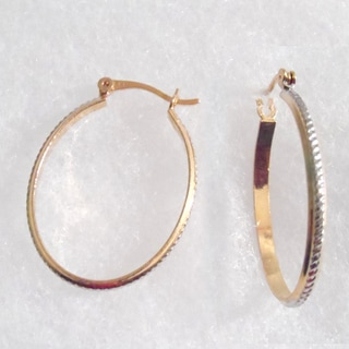 18k Gold with Silver Oval Hoop Earrings