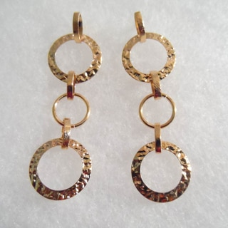 18k Gold Triple Circle Stud Earrings