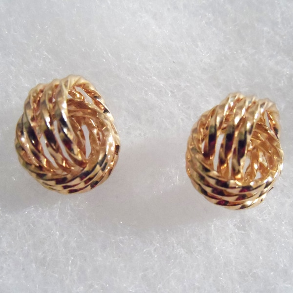 18k Gold Love Knot Stud Earrings