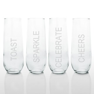 Celebrate! Stemless Champagne Glasses (Set of 4)