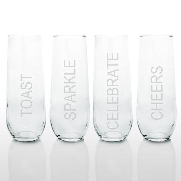 Celebrate! Stemless Champagne Glasses (Set of 4)
