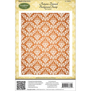 "JustRite Stampers Cling Background Stamp 4-1/2""X5-3/4""-Autumn Damask"