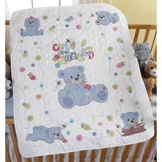 "Cute & Cuddly Bear Crib Cover Stamped Cross Stitch Kit-34""X43"""