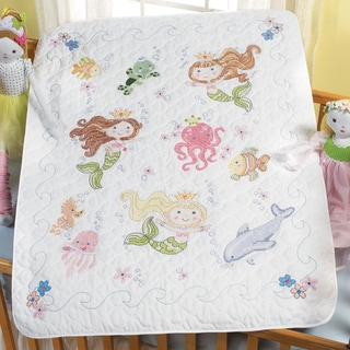 "Mermaid Bay Crib Cover Stamped Cross Stitch Kit-34""X43"""