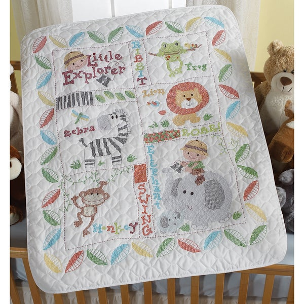 "Little Explorer Crib Cover Stamped Cross Stitch Kit-34""X43"""