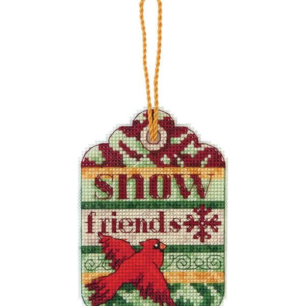 "Susan Winget Snow Friends Ornament Counted Cross Stitch Kit-3-1/4""X4-1/4"" 14 Count Plastic Canvas"