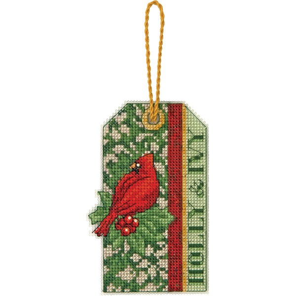 """Susan Winget Holly Ivy Ornament Counted Cross Stitch Kit-3""""X1-3/4"""" 14 Count Plastic Canvas"""