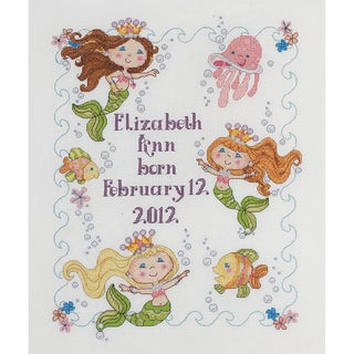 "Mermaid Bay Birth Record Counted Cross Stitch Kit-10""X13"" 14 Count"