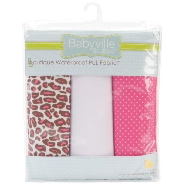 "Babyville Waterproof Diaper Fabric 21""x24"" Cuts 3/Pkg-PUL Sassy Dots & Sassy Cheetah"