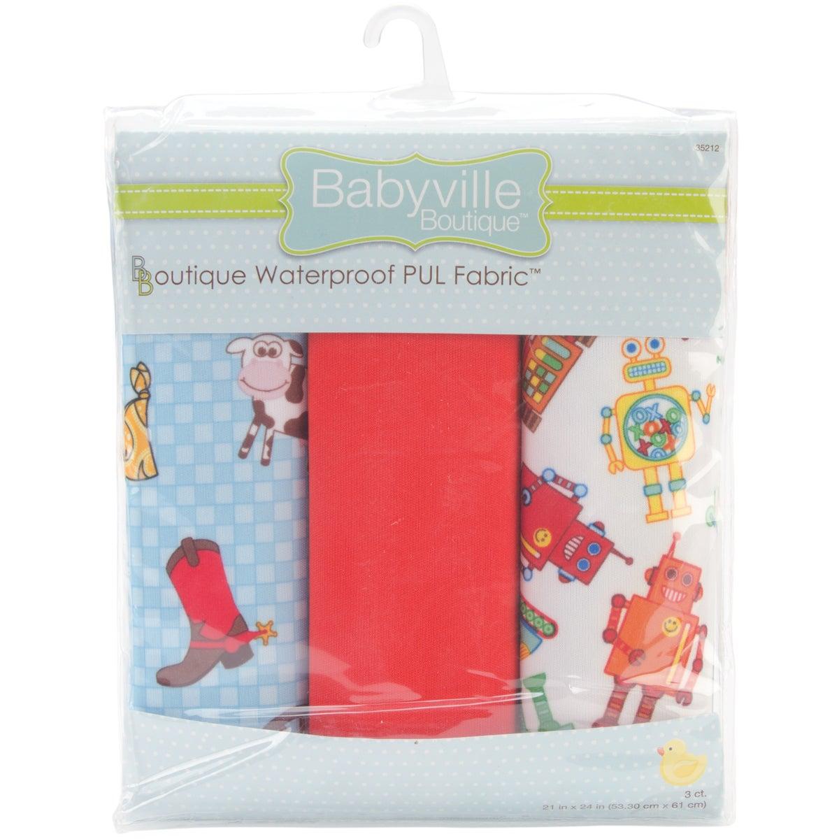 "Babyville Waterproof Diaper Fabric 21""x24"" Cuts 3/Pkg-PUL Cowbaby & Robots"
