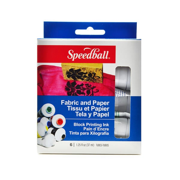Speedball Fabric & Paper Block Printing Ink Set -6 Colors