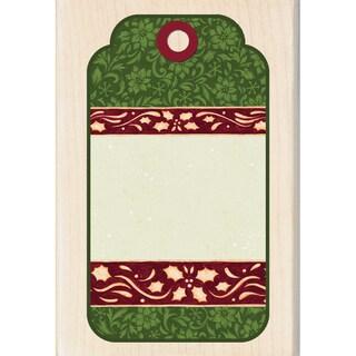 "Inkadinkado Christmas Mounted Rubber Stamp-Decorative Tag 2.75""X4"""