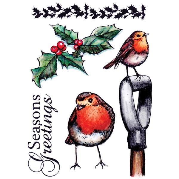 "Sheena Douglas Unmounted Stamp Set 5-1/2""X8-1/2""-Christmas Visitors"