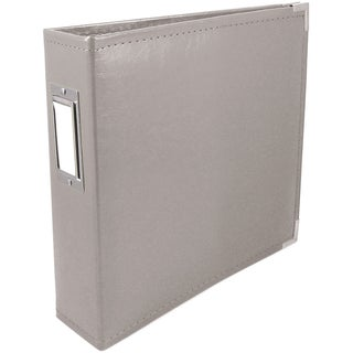 "We R Faux Leather 3-Ring Binder 6""X6""-Charcoal Grey"