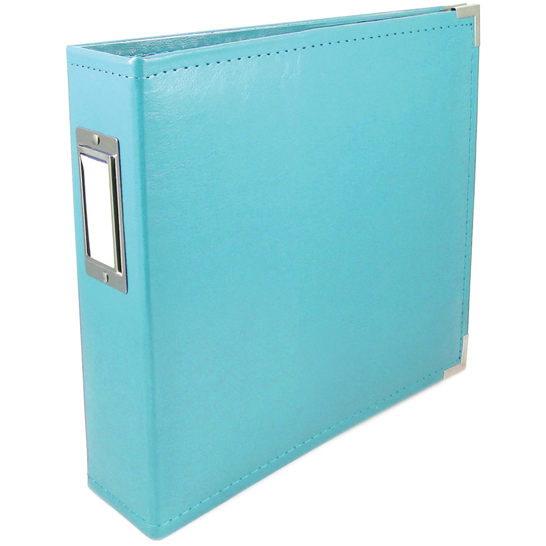 "We R Faux Leather 3-Ring Binder 6""X6""-Aqua"