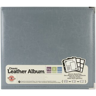 "We R Faux Leather 3-Ring Binder 12""X12""-Charcoal Grey"