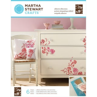 Martha Stewart Adhesive Silkscreen 1 Sheet/Pkg-Exotic Blossoms 8 Designs