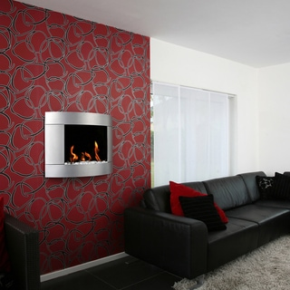 Bio-Blaze Diamond I Bio Ethanol Wall Mounted Silver Finish Fireplace