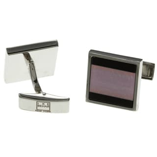 Ike Behar Silver-tone Onyx and Fiberoptic Stone Square Cuff-links