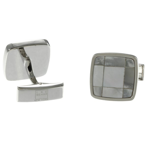Ike Behar Silvertone Square Mother of Pearl Polished Cuff Links