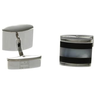Ike Behar Silvertone Mother of Pearl and Onyx Cuff Links