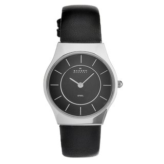 Skagen Women's Stainless Steel Leather Strap Watch