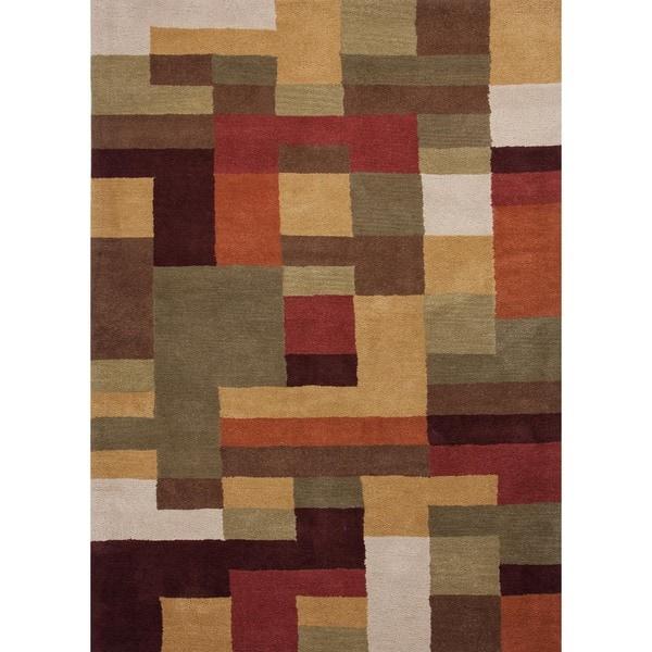 Modern Geometric Wool Tufted Rug F12 (8' x 11')