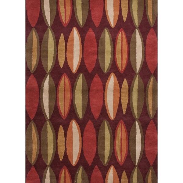 Modern Geometric Deep Ruby Wool Tufted Rug (8' x 11')