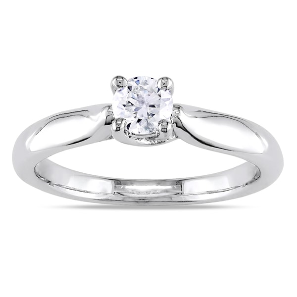 Miadora 14k Gold 1/3ct TDW Diamond Solitaire Engagement Ring (H-I, I2-I3)