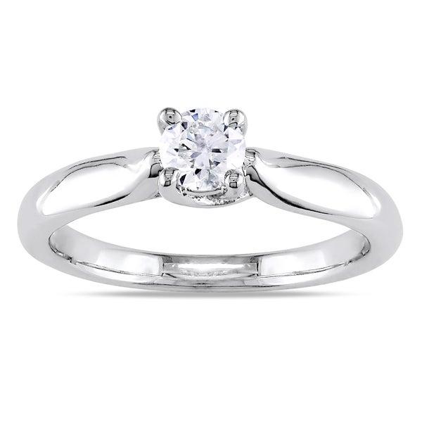 Miadora 14k Gold 1/3ct TDW Diamond Solitaire Engagement Ring (H-I, I2-I3)
