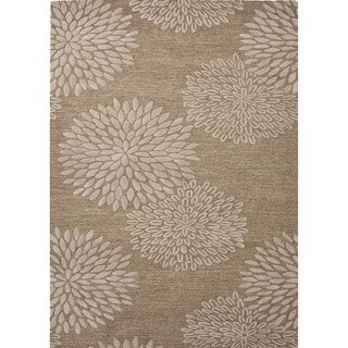 Transitional Beige/ Brown Wool/ Silk Tufted Rug (8' x 11')