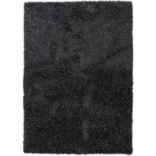 Gray/Black Solid Polyester Shag Rug (2' x 3')