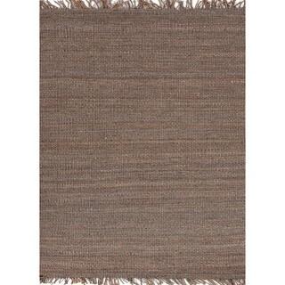 Handmade Flat Weave Solid Gray/ Black Hemp/ Jute Rug (8' x 10')