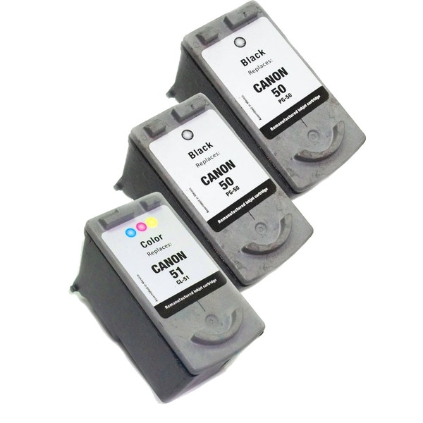 Canon PG50/CL51 Black/ Color Ink Cartridges (Remanufactured) (Pack of 3)