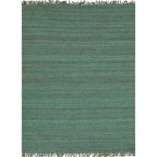 Handmade Flat Weave Solid Blue Hemp/ Jute Rug (8' x 10')