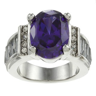 Simon Frank Silvertone Synthetic Amethyst and Crystal Ring