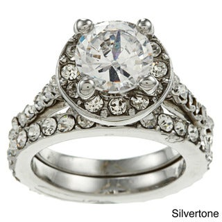 Simon Frank CZ and Crystal Halo Bridal-style Ring Set