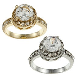 Simon Frank Goldtone or Silvertone CZ and Crystal Halo Ring