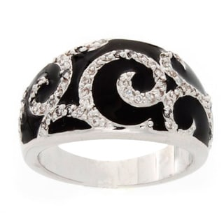 Simon Frank Silvertone Synthetic Black Onyx and Crystal Art Deco Ring